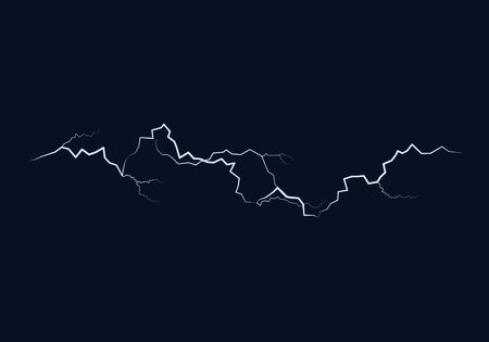 Lightning flash bolt. Thunderbolt on dark background. Vector Ilustração