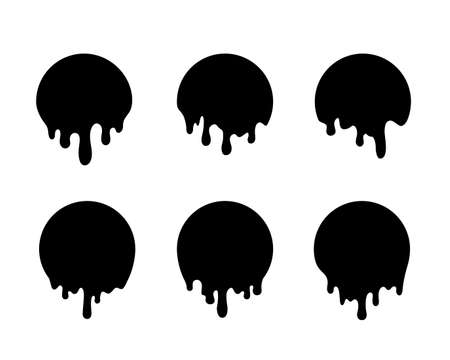 Dripping black circles. Liquid drops of ink. Dripping liquid. Vector illustration Иллюстрация