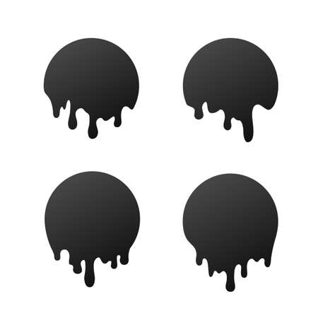 Dripping black circles. Liquid drops of ink. Dripping liquid. Vector illustration isolated on white Illusztráció
