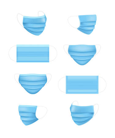 Set of respiratory masks. Medical face mask. Health care issue. Viruses and disease protection. Safety breath. Blue surgical mask template. Vector illustration