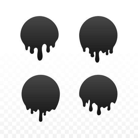 Dripping black circles of paint. Liquid drops of ink. Dripping liquid. Vector illustration Иллюстрация