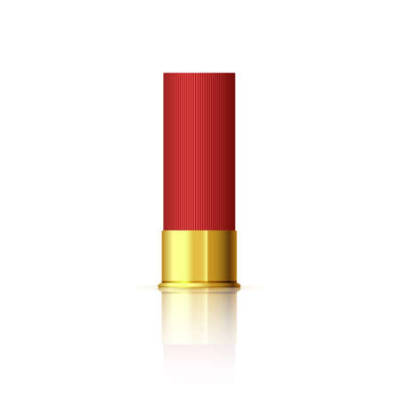 Explosive cartridge for shotgun. Red realistic cartridge with reflection isolated on white.