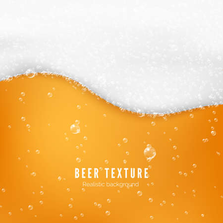 Beer color texture with bubbles and white foam. Fresh cold beer flow banner. Vector illustration Illusztráció