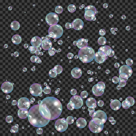 Realistic soap bubbles with rainbow reflection effect. Water foam bubbles. Vector