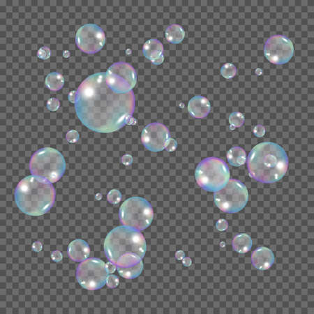 Realistic rainbow color bubbles. Soap bubbles isolated on transparent background. Vector