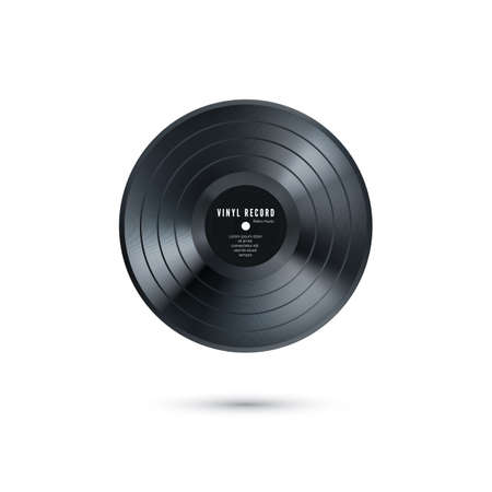 Vinyl music record. Realistic vintage gramophone disc mockup