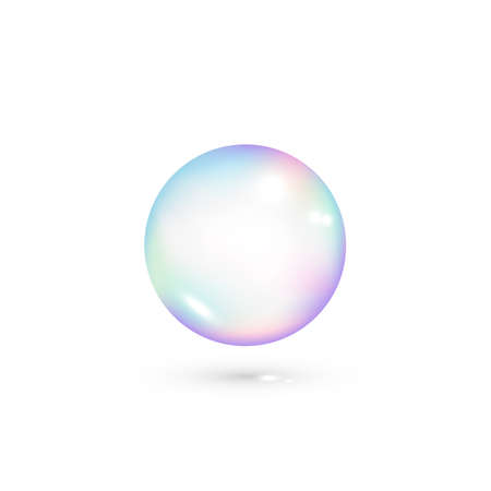 Iridescent soap transparent bubble. Realistic rainbow color bubble. Vector isolated on white