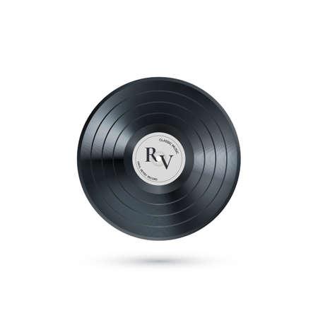 Vinyl music record. Retro audio disk. Realistic vintage gramophone disc.