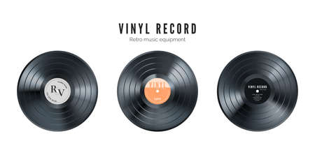 Vinyl music record set. Retro audio disk. Realistic vintage gramophone disc with cover mockup. Vector illustration