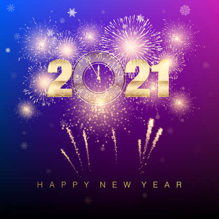 Happy New Year 2021. New Years banner with golden numbers and firework. Greeting card text design. Vector illustration