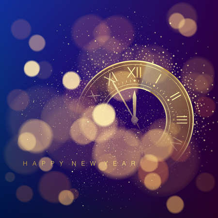 Golden Clock Dial with Roman Numbers on Magic Christmas Glitter Background with Bokeh. New Year Countdown and chimes. Five minutes before twelve. Vector