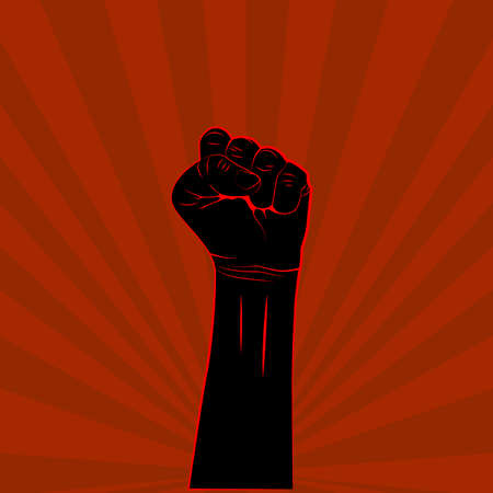Black hand with fist raised up on red background protest or revolution poster. Vector 向量圖像