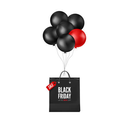 Black Friday Poster with Discount. Black and red balloons with shopping bag. Web banner design. Vector illustration Ilustração
