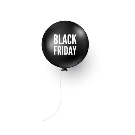 Black balloon with Black Friday text. Discount banner or poster design element. Vector illustration