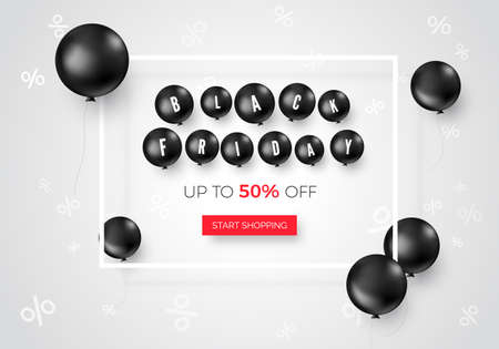 Black friday web banner with special offer. Black balloons flying around offer text. Vector