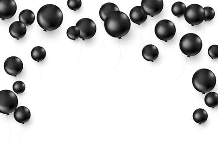 Black balloons isolated on white background. Black friday decoration template. Vector illustration