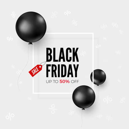 Black friday web banner with special offer and balloons. Sale discount. Black balloons flying around offer text. Vector