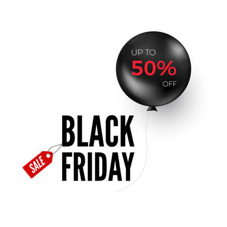 Black balloon with discount offer. Black Friday banner or poster design element. Vector illustration