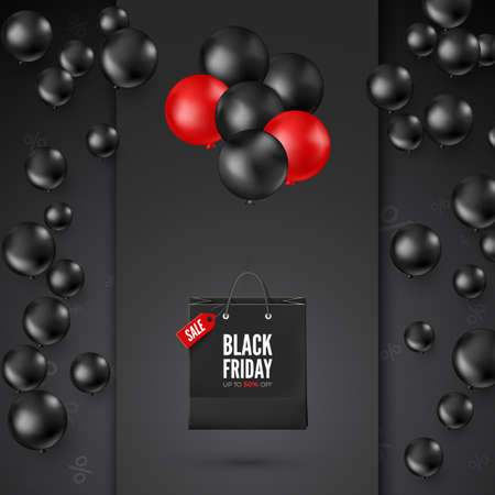 Black Friday Poster with Discount Offer. Black and red balloons with shopping bag. Web banner design. Vector Ilustração