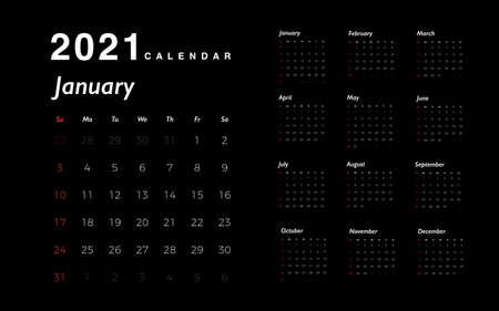 Calendar 2021 new year. White numbers of days with red weekends on black background. Calendar template for your business design. Vector