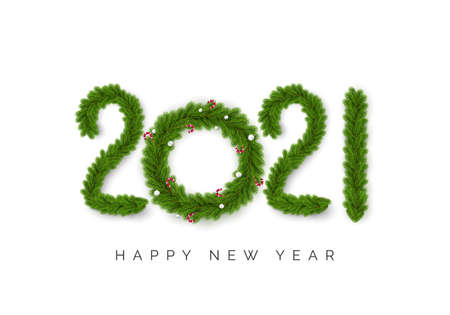 Numbers 2021 of christmas tree branches isolated on white. Christmas Tree Wreath Decorated with Christmas balls and Candy Canes instead zero. Happy New Year Greating Card. Vector Banco de Imagens