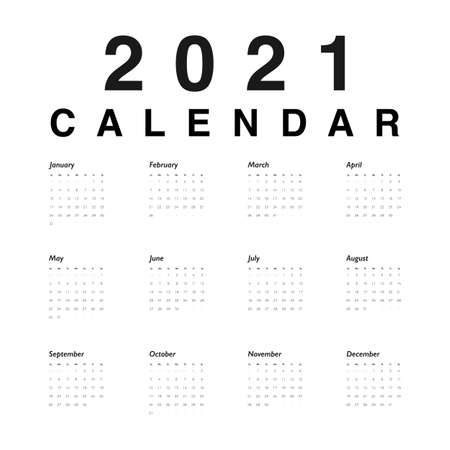 Calendar 2021 year. Black numbers of days on white background. Vector