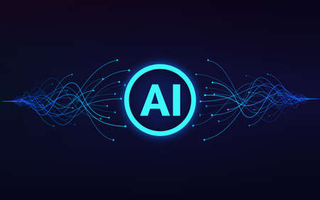 Artificial intelligence. AI text in center and moving blue waves. Machine learning and data analytics. Vector Ilustração