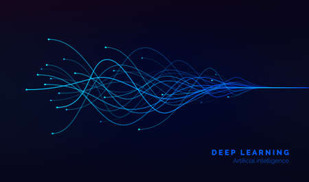 Deep learning visualization. AI. artificial intelligence concept of neural networks. Wave equalizer. Vector illustration