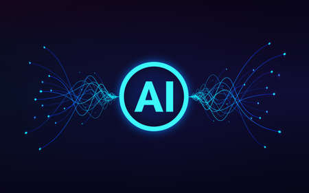 Artificial intelligence concept. ai text in center and moving blue waves. Machine learning and data analytics. Vector