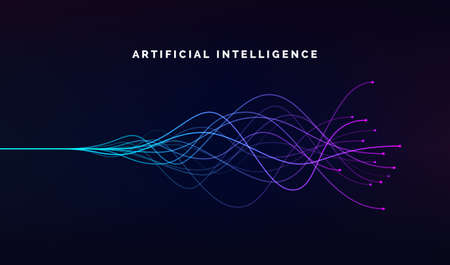 Artificial intelligence ai and deep learning concept of neural networks. Wave equalizer. Blue and purple lines. Vector illustration