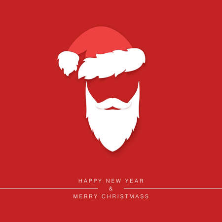 Santa Claus beard with mustache and hat silhouette isolated on red background. Holiday greeting card design element. Vector illustration