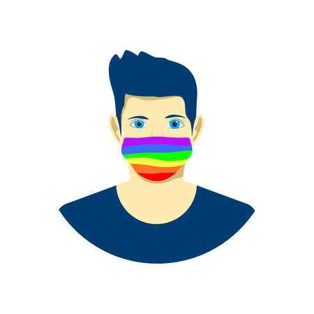 Young man in protection face mask. lgbt pride colors. Tolerance concept. Vector illustration