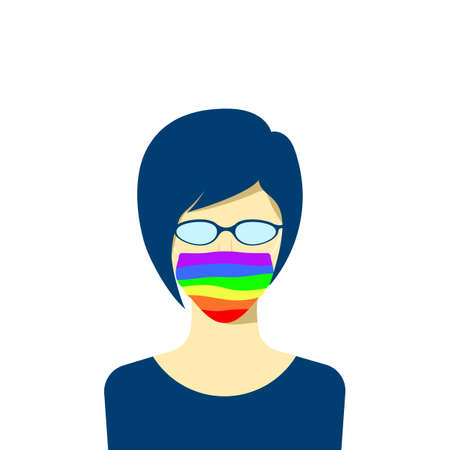 Young female character avatar in protection face mask. lgbt pride colors. Tolerance concept. Vector