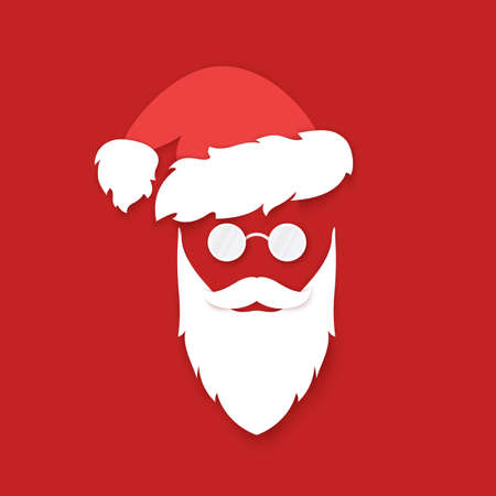 Santa Claus face silhouette on red background. White beard with mustache and hat with eyeglasses. Symbol holiday New Year and Christmas. Vector illustration Ilustração