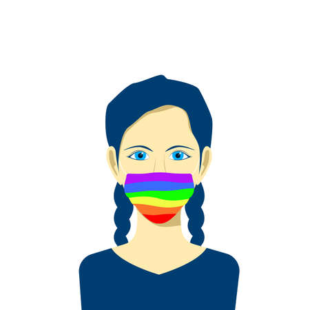 Young female character avatar in protection face mask. lgbt pride colors. Tolerance concept. Vector illustration