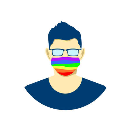 Young man character in protection face mask. lgbt pride colors. Tolerance concept. Vector illustration