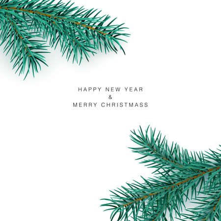 Happy New Year and Merry Christmas Greeting Card Template. Green branch of pine on white background. Vector Ilustração