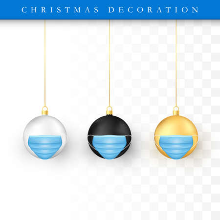 Set of Christmas balls with face mask. Holiday decoration element. White gold and black bubbles. Vector