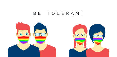 Lesbian and gay couples in face mask. lgbt pride colors. Tolerance and health care. Vector Ilustração
