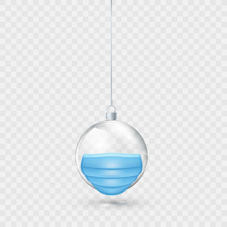 Glass transparent Christmas ball with face mask isolated on transparent background. New Year ornament element. Holiday decoration. Vector illustration