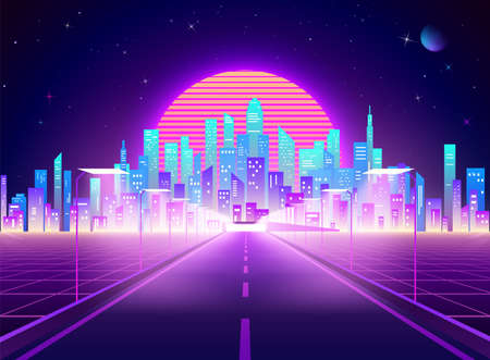 Highway to Cyberpunk futuristic town. Neon retro city landscape. Sci-fi background abstract digital architecture. Vector illustration