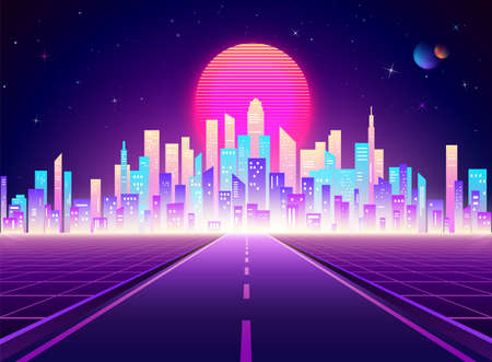 Neon retro city landscape. Highway to Cyberpunk futuristic town. Sci-fi background abstract digital architecture. Vector illustration Ilustração