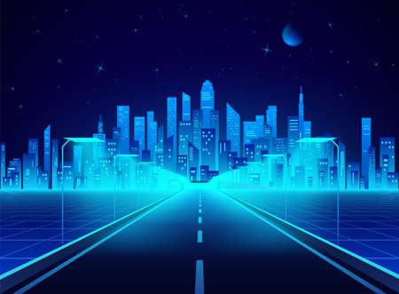 Neon retro city landscape in blue colors. Highway to cyberpunk futuristic town. Sci-fi background abstract digital architecture. Vector illustration
