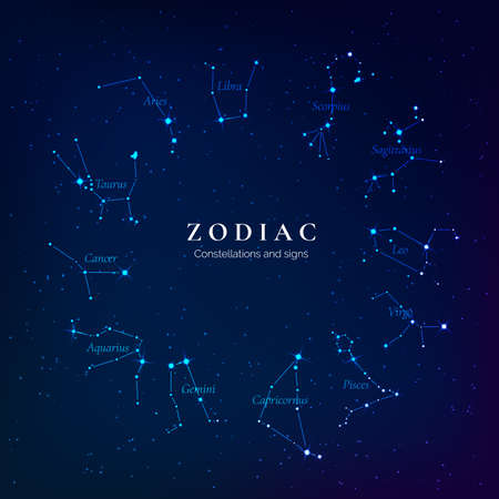 Zodiac signs on starry sky. Twelve constellations of the zodiac. Constellations lying in the plane of the ecliptic. vector