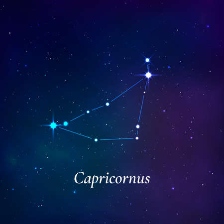 Capricornus sign. Stars map of zodiac constellation on dark blue background. Vector