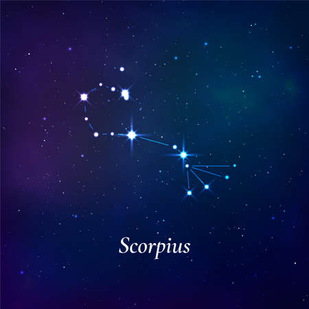 Scorpius sign. Stars map of zodiac constellation on dark blue background. Vector