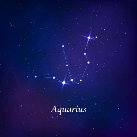 Aquarius sign. Stars map of zodiac constellation on dark blue background. Vector 免版税图像