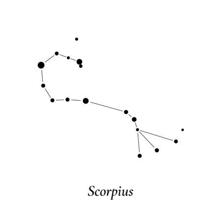 Scorpius sign. Stars map of zodiac constellation. Vector illustration 免版税图像