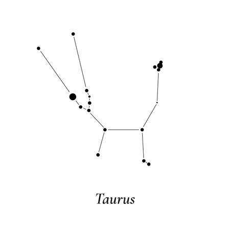 Taurus sign. Stars map of zodiac constellation. Vector illustration
