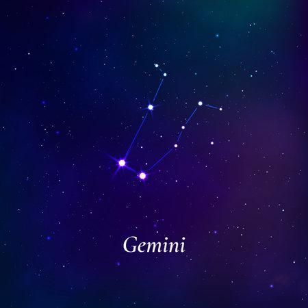 Gemini sign. Stars map of zodiac constellation on dark blue background. Vector